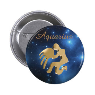 Aquarius golden sign 2 inch round button