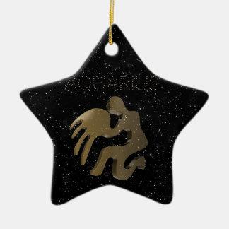 Aquarius golden sign ceramic star ornament