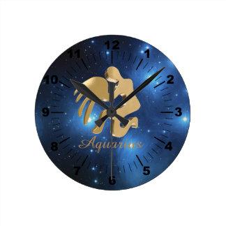 Aquarius golden sign clocks