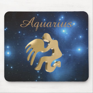 Aquarius golden sign mouse pad