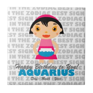 Aquarius Happy Birthday Ceramic Tiles