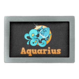 Aquarius illustration belt buckle