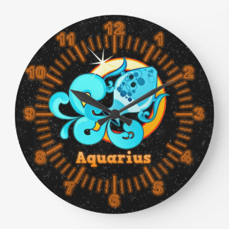 Aquarius illustration large clock