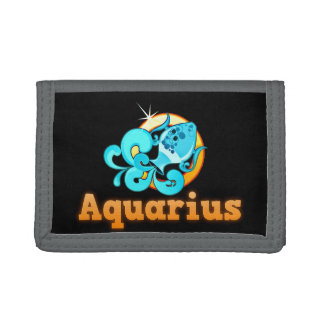 Aquarius illustration tri-fold wallet