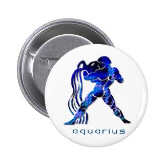 Aquarius Sign Round Pin