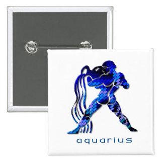 Aquarius Sign Square Pin