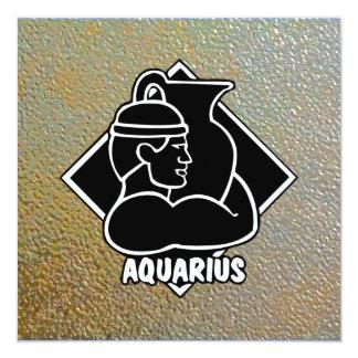 "Aquarius Sleek Modern Textured Metal Gold Silver 5.25"" Square Invitation Card"
