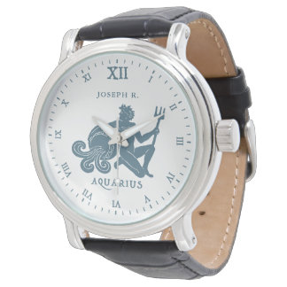Aquarius Star Sign Vintage Art | Customized Watch
