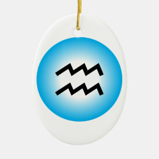 AQUARIUS SYMBOL CERAMIC ORNAMENT