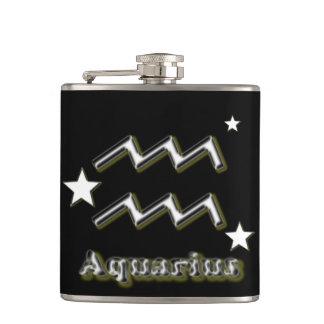 Aquarius symbol hip flask