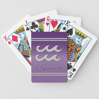 Aquarius Symbol in Chrome on Amethyst Effect Poker Deck