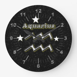 Aquarius symbol large clock
