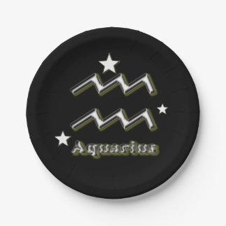 Aquarius symbol paper plate