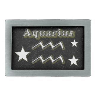 Aquarius symbol rectangular belt buckles