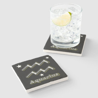 Aquarius symbol stone coaster