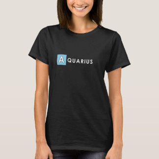 AQUARIUS T SHIRT - Woman's Zodiac Color Black Tee
