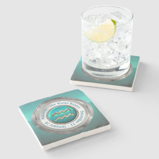 Aquarius - The Water Bearer Astrological Sign Stone Coaster