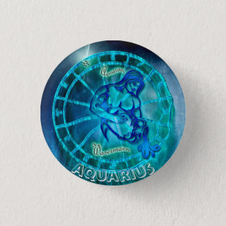 Aquarius the Water Bearer Horoscope 1 Inch Round Button
