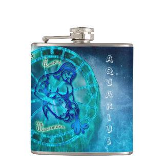 Aquarius the Water Bearer Horoscope Hip Flask