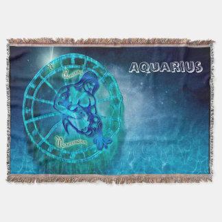 Aquarius the Water Bearer Horoscope Throw Blanket