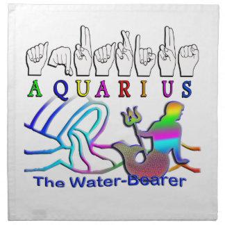 AQUARIUS the WATER BEARER ZODIAC FINGERSPELLED ASL Napkin