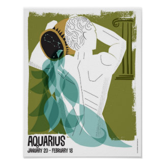 Aquarius the Water Bearer Zodiac Poster