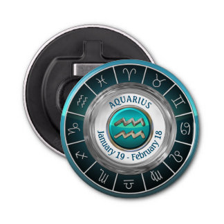 Aquarius - The Water Carrier's Horoscope Symbol Button Bottle Opener