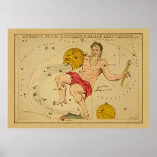 Aquarius  - Vintage Sign of the Zodiac Image Poster