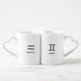 Aquarius water-bearer and Gemini Zodiacs Astrology Coffee Mug Set