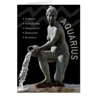 Aquarius Water Bearer Zodiac Card with Traits