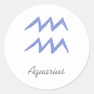 Aquarius. Zodiac Astrology Sign. Blue. Round Sticker