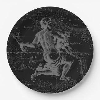 Aquarius Zodiac Constellation Engraving Hevelius Paper Plate