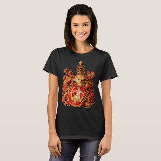Aquarius Zodiac Crest in Red and Gold T-Shirt