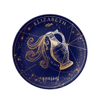 Aquarius Zodiac Full Navy Blue & Gold Birth Plate