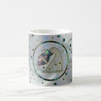 Aquarius Zodiac Gold Abalone on Constellation Coffee Mug
