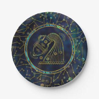 Aquarius Zodiac Gold Abalone on Constellation Paper Plate