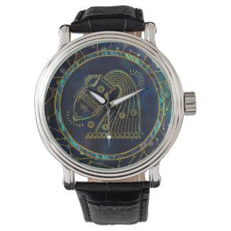 Aquarius Zodiac Gold Abalone on Constellation Watch