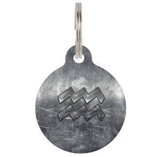 Aquarius Zodiac Industrial Silver Steel Pet Tag