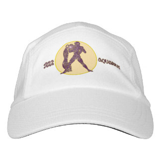 Aquarius Zodiac Knit Performance Hat, White Cap