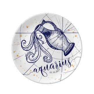 Aquarius Zodiac Navy Blue & Gold Birth Plate