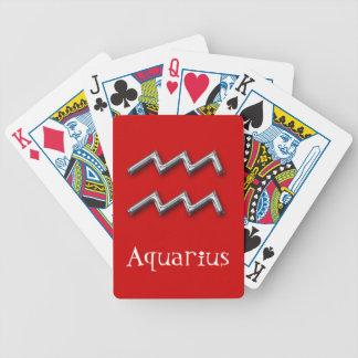 Aquarius  Zodiac-Red-faux metal Poker Deck