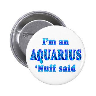 Aquarius Zodiac Sign Pinback Button