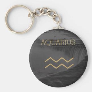Aquarius Zodiac Sign | Custom Background + Text Keychain