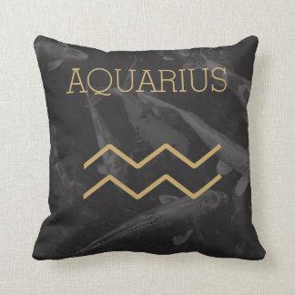Aquarius Zodiac Sign | Custom Background + Text Throw Pillow