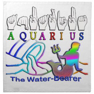 Aquarius ZODIAC SIGN FINGERSPELLED Cloth Napkins