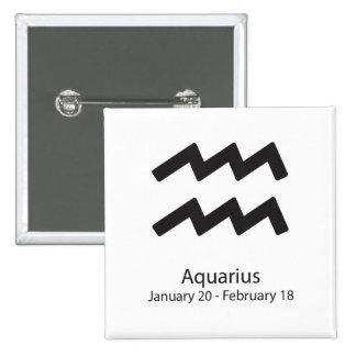 Aquarius Zodiac Sign January 20 - February 18 2 Inch Square Button
