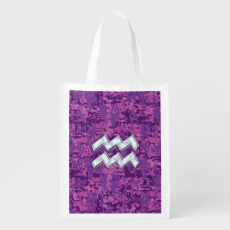 Aquarius Zodiac Sign on fuchsia digital camouflage Reusable Grocery Bag