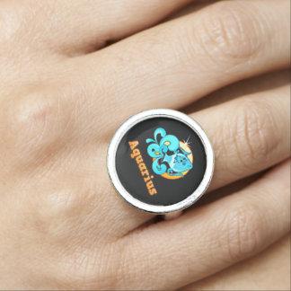 Aquarius zodiac sign photo ring