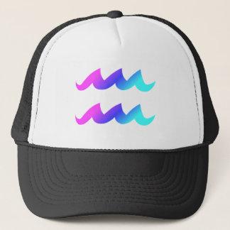 Aquarius Zodiac Sign Pink Blue Aqua Gradient Trucker Hat
