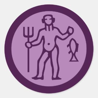 Aquarius Zodiac Sign Purple Round Sticker